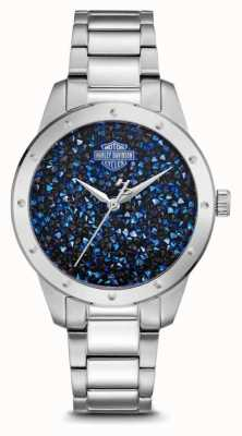 Harley Davidson Kristallen set blauwe wijzerplaat | roestvrij stalen armband 76L188