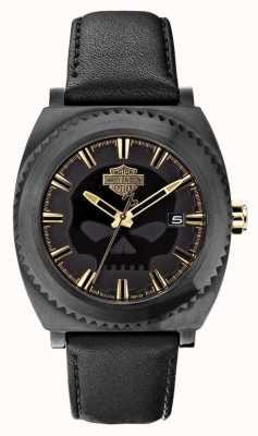 Harley Davidson Schedel van Mens zwarte wijzerplaat zwart lederen armband 78B129