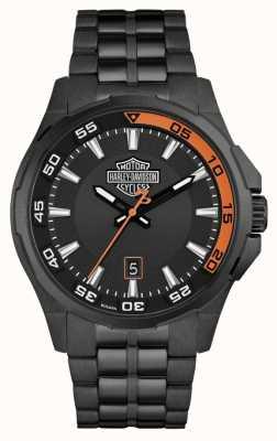 Harley Davidson Heren dashboard | zwarte wijzerplaat | zwarte roestvrijstalen armband 78B141