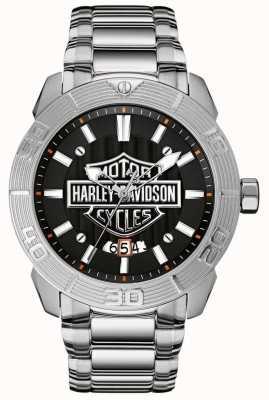 Harley Davidson Roestvrijstalen herenarmband | zwarte wijzerplaat 76B169
