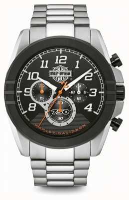 Harley Davidson Mens chronograaf | zwarte wijzerplaat | tweekleurig roestvrij staal 76B175