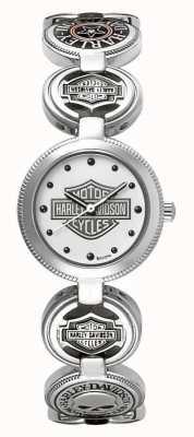 Harley Davidson Womens bedelarmband polshorloge | zilver roestvrij staal 76L145