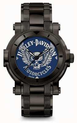Harley Davidson Mens voor hem | zwarte roestvrijstalen armband | blauwe wijzerplaat 78A117