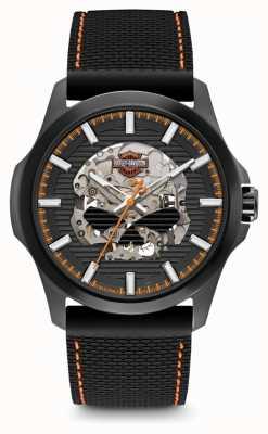 Harley Davidson Willie g schedel heren zwarte wijzerplaat | zwarte siliconen band 78A118