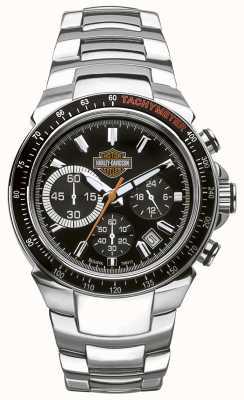 Harley Davidson Chronograph voor heren | zwarte wijzerplaat | zilver roestvrij staal 78B113