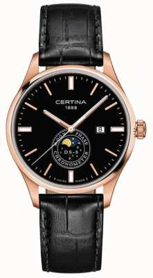 Certina Heren ds-8 | zwart | rose goud | maanfasehorloge C0334573605100