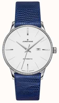 Junghans Meister damen automatisch | diamant set | blauwe hagedis riem 027/4846.00