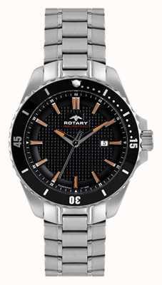 Rotary Mens analoog | roestvrijstalen armband | zwarte wijzerplaat AGB00293/04