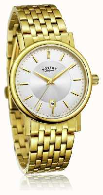 Rotary Heren slank vergulde edelstalen armband | zilveren wijzerplaat GB03635/03