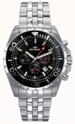 Rotary Mens aquaspeed | roestvrijstalen armband | zwarte wijzerplaat AGB00013/C/04S