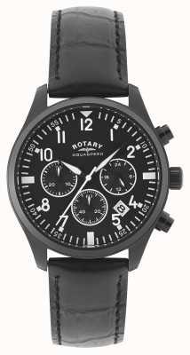 Rotary Mens chronograaf | zwarte leren riem | zwarte wijzerplaat GS00110/04