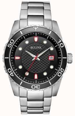 Bulova Herensport zwart / rode wijzerplaat roestvrij stalen armband 98A195