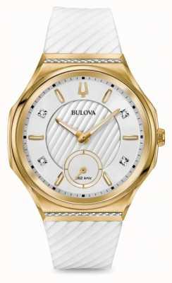 Bulova Damessnaar in diamanten bezet met goudkleurig witte band 98R237