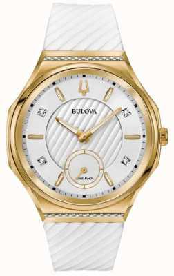 Bulova Damessnoer met diamanten bezet met goudkleurig witte rand 98R237