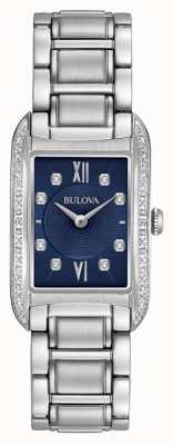 Bulova Dames diamant gezet zwarte wijzerplaat roestvrij stalen armband 96R211