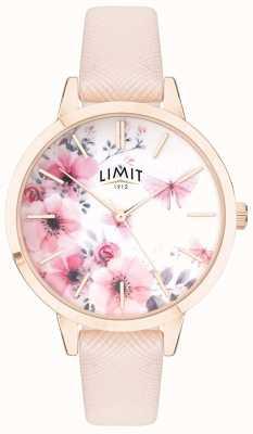 Limit | de geheime tuin van vrouwen | roze en witte florale wijzerplaat roze strp 60023