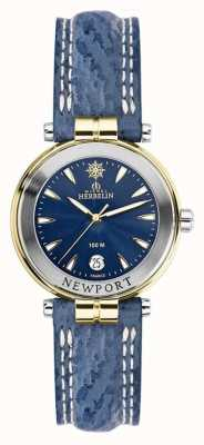 Michel Herbelin Dames newport blauwe band verguld 14255/T35