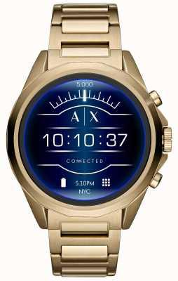 Armani Exchange Aangesloten smartwatch touchscreen goud geplateerd AXT2001