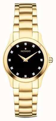 Movado | dames moisan horloge | gouden toon | zwarte wijzerplaat | 0607028