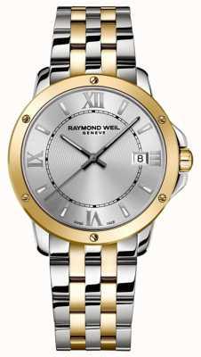 Raymond Weil Mensentango | tweekleurige roestvrijstalen armband | zilveren wijzerplaat 5591-STP-00308