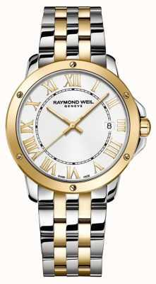 Raymond Weil Tango voor mannen | tweekleurige roestvrijstalen armband | witte wijzerplaat 5591-STP-00308