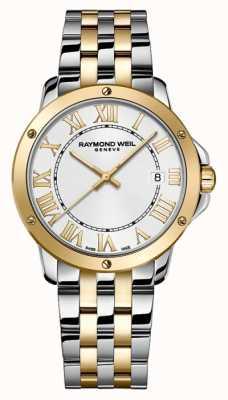 Raymond Weil Mensentango   tweekleurige roestvrijstalen armband   zilveren wijzerplaat 5591-STP-00308