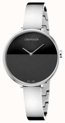Calvin Klein | womens rise stainless steel bracelet | zwarte wijzerplaat | K7A23141