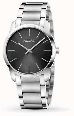 Calvin Klein | mens stad | roestvrijstalen armband | zwart / grijze wijzerplaat | K2G22143