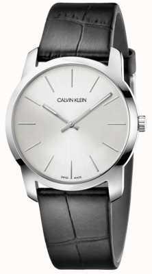 Calvin Klein | stadsuitbreiding horloge | zwarte leren riem | zilveren wijzerplaat | K2G221C6