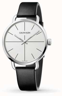 Calvin Klein | zelfs verlengingshorloge | zwarte leren riem | witte wijzerplaat | K7B211CY