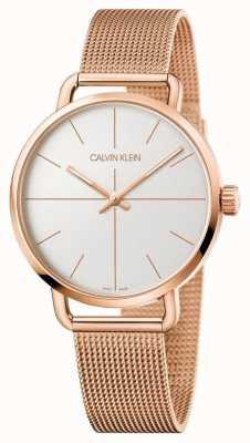 Calvin Klein | zelfs kijken | rosegouden netriem zilveren wijzerplaat | K7B21626