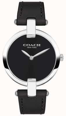 Coach | chrystie horloge voor vrouwen | zwart leer en staal | 14503091