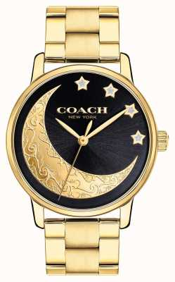 Coach | dames grand horloge | goud met maandetails op gezicht | 14503278