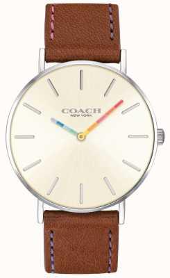 Coach | vrouwen perry horloge | bruine lederen riem witte wijzerplaat | 14503032