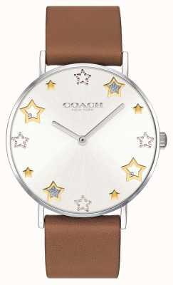 Coach | vrouwen perry horloge | bruine leren riem | 14503242