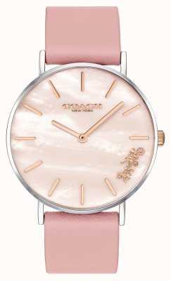 Coach | vrouwen perry horloge | roze leren riem | 14503244
