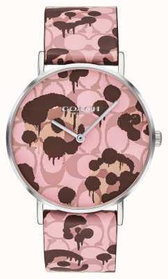 Coach | vrouwen perry horloge | roze leren riem bloemmotief | 14503246