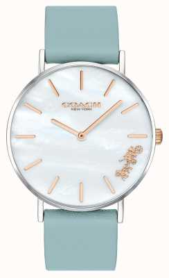 Coach | vrouwen perry horloge | blauwgroen leren riem witte wijzerplaat | 14503271