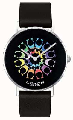 Coach | vrouwen perry horloge | zwarte leren riem zwarte wijzerplaat | 14503289