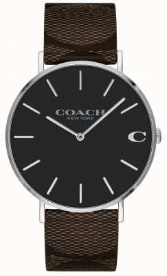 Coach | heren charles horloge | bruine leren riem | 14602156