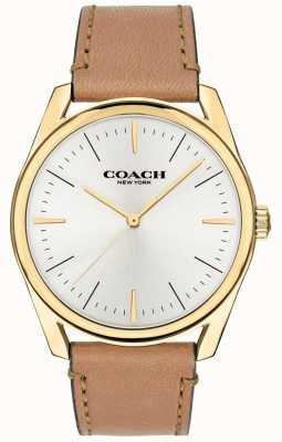 Coach | heren moderne luxe horloge | bruine leren riem witte wijzerplaat | 14602398