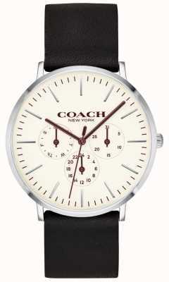 Coach   heren varick horloge   zwarte lederen band witte wijzerplaat   14602387
