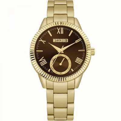 Missguided | gouden damesarmband van goud | bruine wijzerplaat | MG006GM