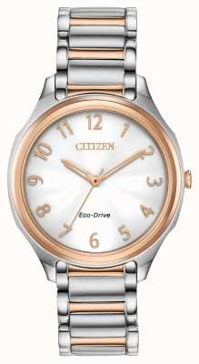 Citizen Eco-drive two tone metalen armband voor dames EM0756-53A