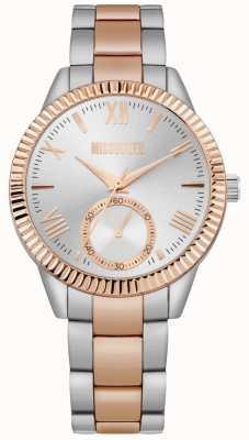 Missguided | tweekleurige roestvrijstalen armband voor dames | zilveren wijzerplaat | MG006SRM