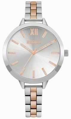 Missguided   tweekleurige roestvrijstalen armband voor dames   zilveren wijzerplaat   MG005SRM