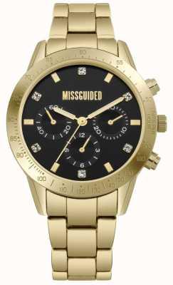 Missguided   dames goud roestvrij staal   zwarte wijzerplaat   chronograaf   MG004GM