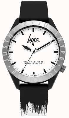 Hype | heren zwart / witte siliconen riem | witte wijzerplaat | HYG006BW
