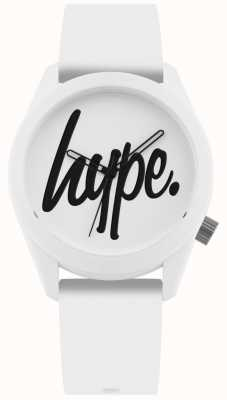 Hype | witte siliconen riem | witte en zwarte wijzerplaat | HYU001W