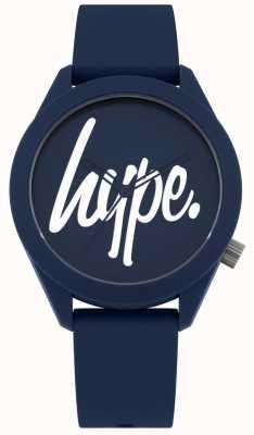 Hype | heren blauwe siliconen riem | blauwe en witte wijzerplaat | HYG001U